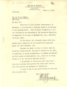 Letter from William R. Stewart to W. E. B. Du Bois
