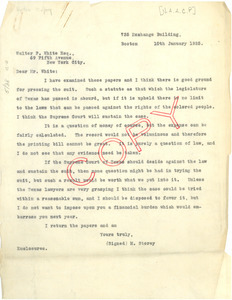 Letter from Moorfield Storey to Walter F. White