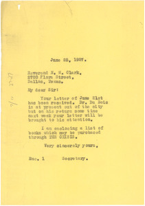 Letter from unidentified correspondent to N. W. Clark