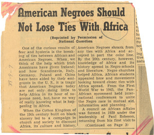 American Negroes Should Not Lose Ties With Africa