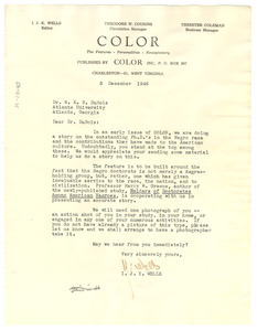 Letter from Color to W. E. B. Du Bois