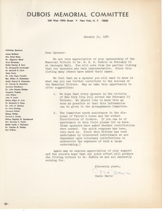 Circular letter from Du Bois Memorial Committee to James Aronson