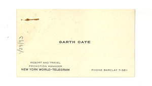 Business card from Garth Cate