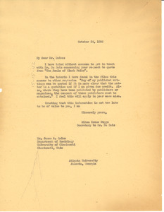 Letter from Ellen Irene Diggs to James A. Quinn