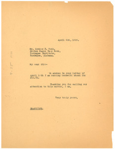 Letter from Crisis to Tuskegee Institute
