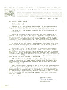 Circular letter from National Council of American-Soviet Friendship to W. E. B. Du Bois