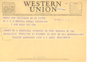 Telegram from College Languages Association to W. E. B. Du Bois