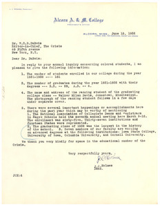 Letter from Alcorn A & M College to W. E. B. Du Bois