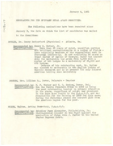 Memorandum from Walter White to the Spingarn Medal Award Committee