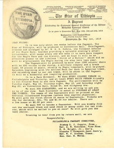 Circular letter from star of Ethiopia Philadelphia Pageant Committee to unidentified correspondent