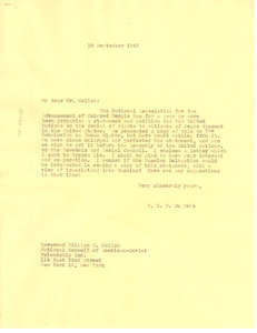 Letter from W. E. B. Du Bois to National Council of American-Soviet Friendship
