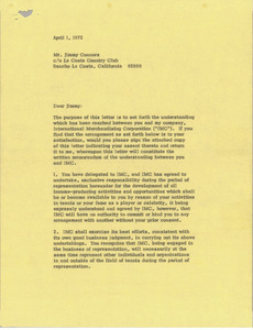 Letter from Mark H. McCormack to Jimmy Connors