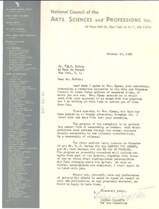Letter from National Council of the Arts, Sciences and Professions to W. E. B. Du Bois