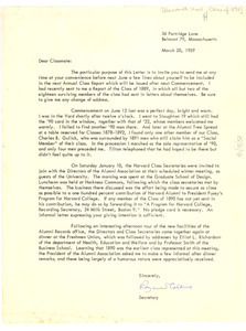 Letter from Harvard Class of 1890 to W. E. B. Du Bois