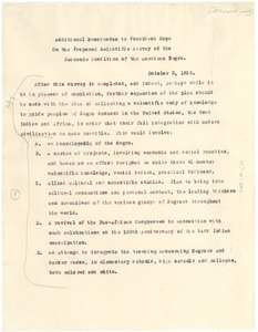 Additional memorandum to President Hope on the proposed scientific survey of the economic condition of the American negro