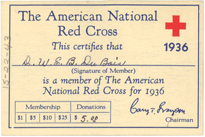 American National Red Cross membership card of W. E. B. Du Bois