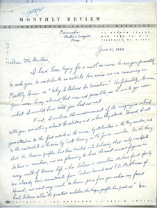 Letter from Monthly Review to W. E. B. Du Bois
