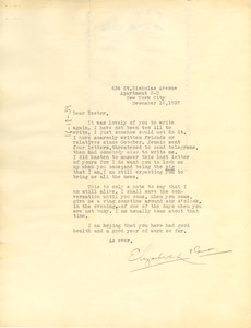 Letter from Elizabeth Perry Cannon to W. E. B. Du Bois