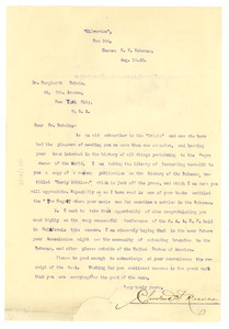 Letter from Cleveland H. Reeves to W. E. B. Du Bois