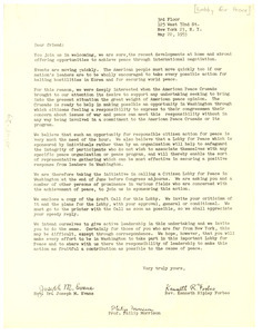 Circular letter from Lobby for Peace to W. E. B. Du Bois