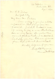 Letter from Minnie M. Williams to W. E. B. Du Bois