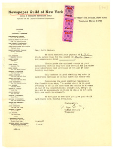 Circular letter from Newspaper Guild of New York to W  E  B
