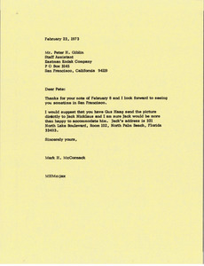 Letter from Mark H. McCormack to Peter H. Giblin