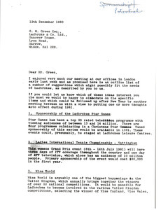 Letter from Mark H. McCormack to G. M. Green