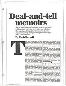 Deal and tell memoirs