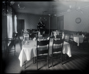 Interior of a dining room (perhaps in a hotel)