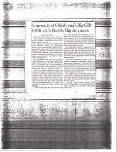 Article on University of Oklahoma's Big Gift of Stock