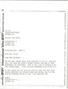 Telex printout from Mark H. McCormack to Phil Pilley