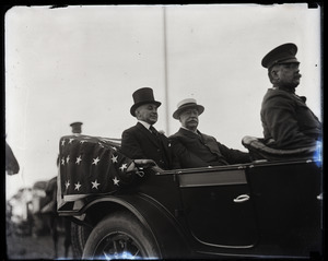 William Howard Taft and Gov. Channing Harris Cox (l. to r.), riding in touring car