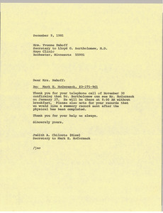 Letter from Judith A. Chilcote to Yvonne Ruhoff
