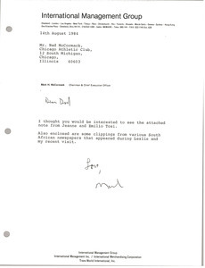 Letter from Mark H. McCormack to Ned McCormack