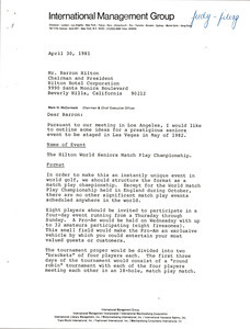 Letter from Mark H. McCormack to Barron Hilton