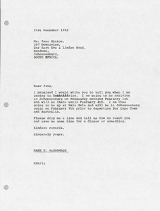 Letter from Mark H. McCormack to Jane Hinton