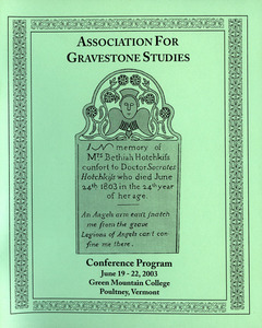 The Association for Gravestone Studies, 26th conference and annual meeting