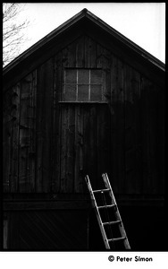 Gable end of the barn, with ladder: Packer Corners commune