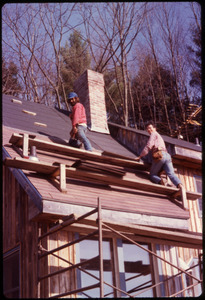 Bob Bady and Steve B. doing roofing work on the Morse-Bady house