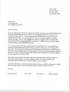 Letter from Derrick Johnson and others to Gloria Xifaras Clark