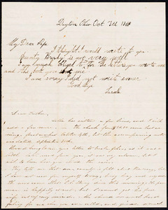 "Letter from Augusta Bruen and Sarah ""Sella"" Bruen, Dayton, OH to Luther Bruen, 1863 October 7"