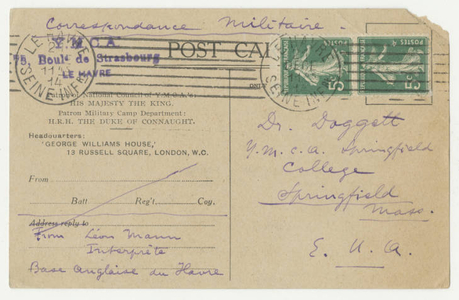 Postcard from Leon Mann to Dr. Laurence L. Doggett (Dec. 20, 1914)