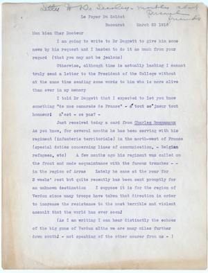 Transcript of letter from Leon Mann to Laurence L. Doggett (March 22, 1916)