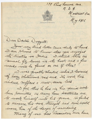 Letter from Charles A. Palmer to Laurence L. Doggett (May 23, 1916)