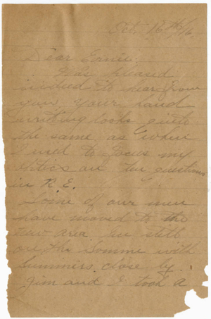 Letter from Herbert C. Patterson to Ernie (October 16, 1916)