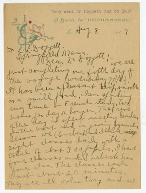 Letter from James H. McCurdy to Laurence L. Doggett (August 8, 1917)