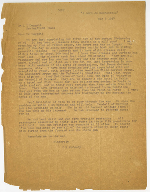 Copy of a Letter from James H. McCurdy to Laurence L. Doggett (August 8, 1917)