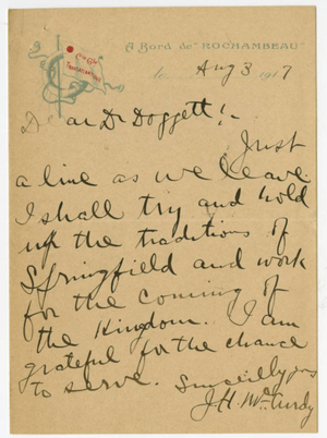 Letter From James H. McCurdy to Laurence L. Doggett (August 3, 1917)