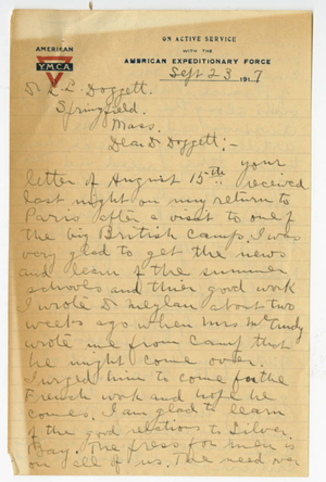 Letter from James H. McCurdy to Laurence L. Doggett (September 23, 1917)